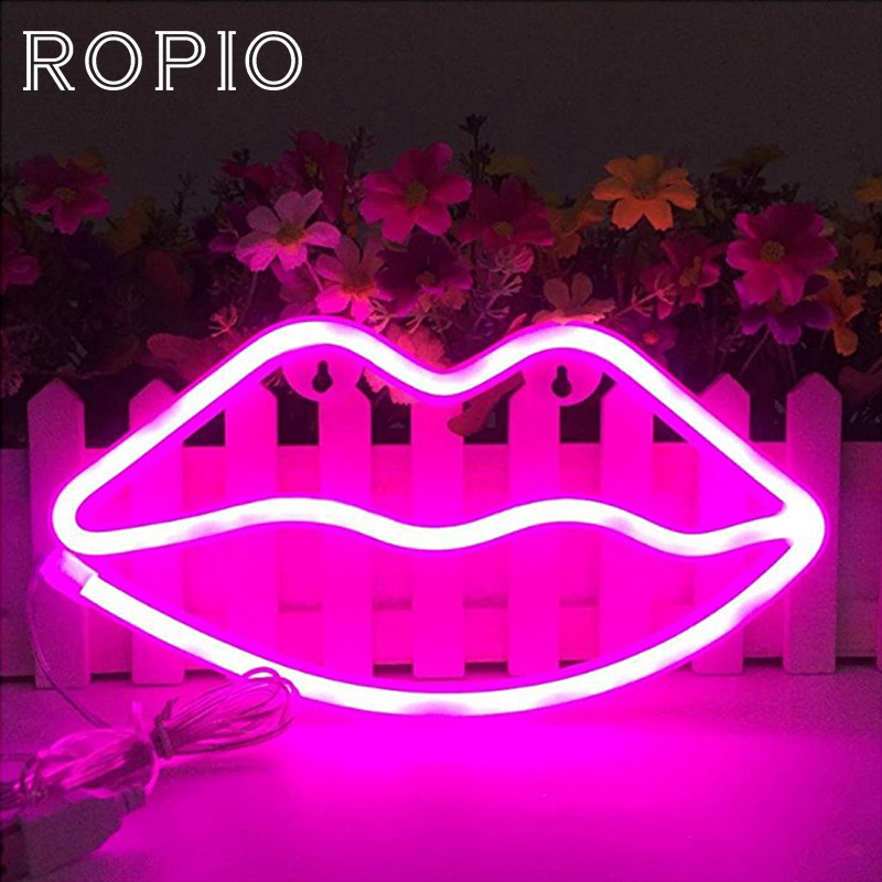 ROPIO LED Neon Sign Night Lights Flamingo/lips Unique Design Soft Light Wall Decor Lamp  For Christmas Wedding Party Kids Room
