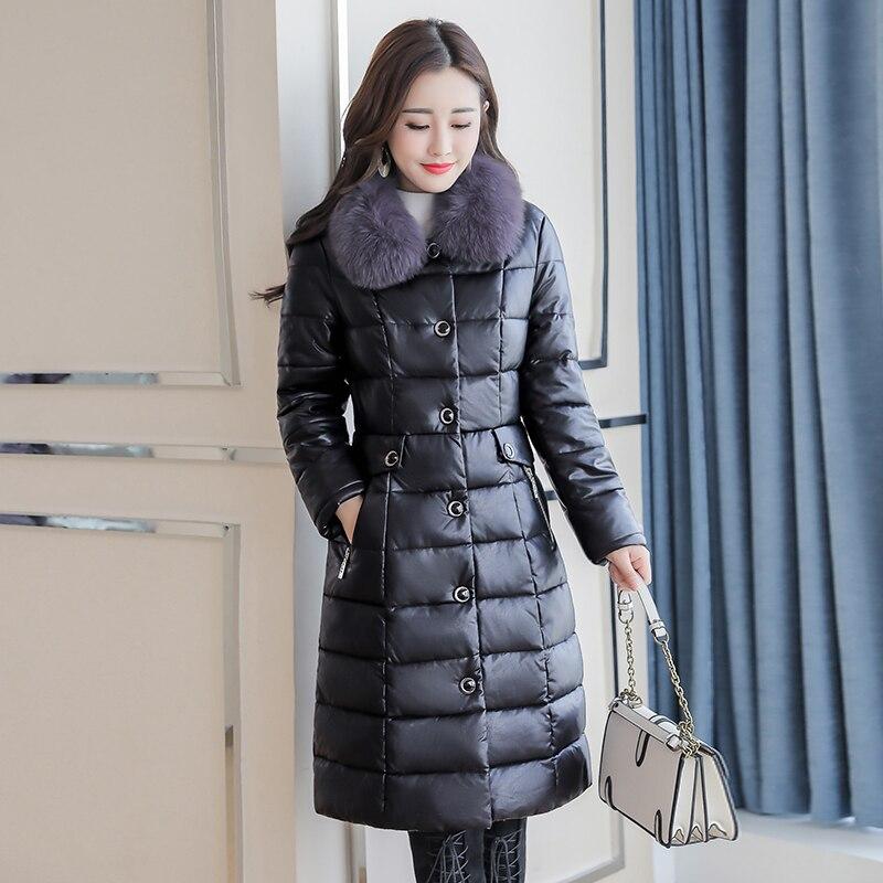 Best quality 2018 winter   leather   coat female medium long down jacket large Fox fur collar   leather   clothing Plus Size M~5XL