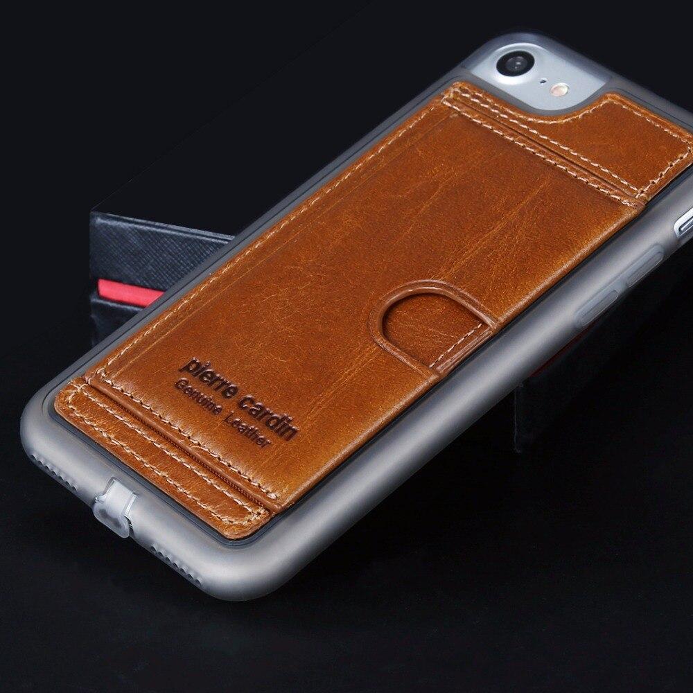bilder für Pierre Cardin Für iPhone 7 6 6 s/6 7 Plus Fall weiche Silikon-abdeckung Echtes Leder-kasten-rückseitige Kartenhalter Ursprünglichen Telefon fällen