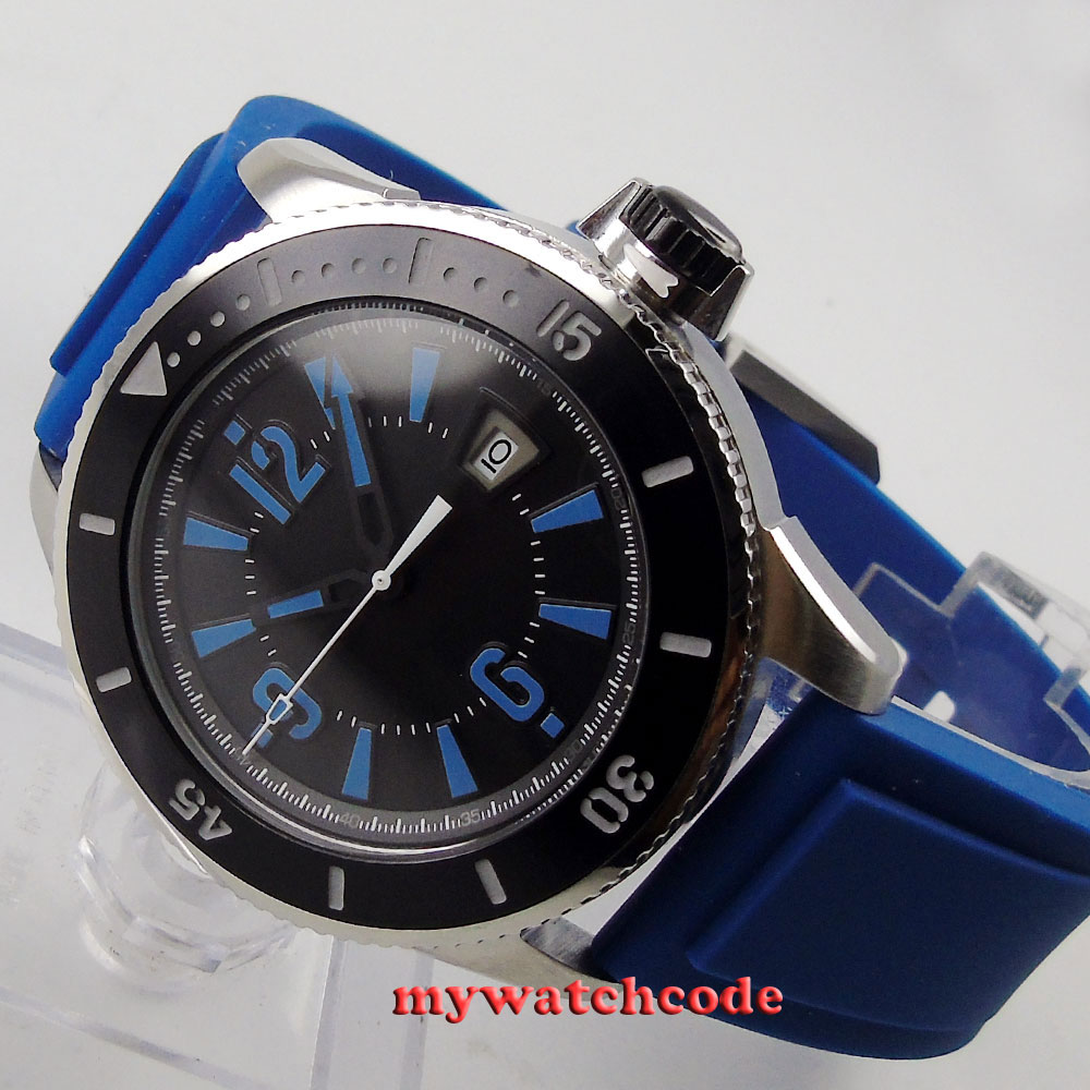 43mm BLIGER black dial blue marks ceramic bezel automatic mens wrist watch 2 cool dial blue backlight led wrist watch 2 x cr2016