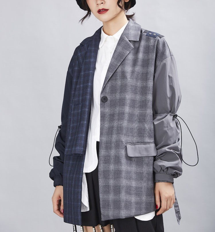 2019 Autumn Patchwork Plaid Blazer Coat Female Long Sleeve Asymmetrical Women Suits Notched Casual Office Clothes