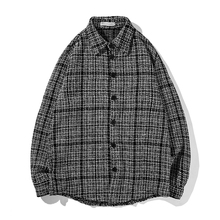 2018 Spring Autumn Japanese Classical Stylish Casual Lattice Thick Grey Shirt Loose Men Coat Male Camisa Masculina Black S-XL цена