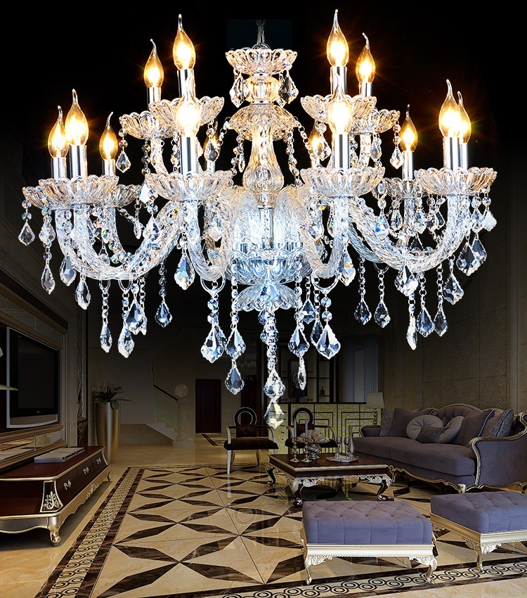 Free Noble Luxury Candle Crystal Chandelier Living Room Modern Lamps Transpa K9