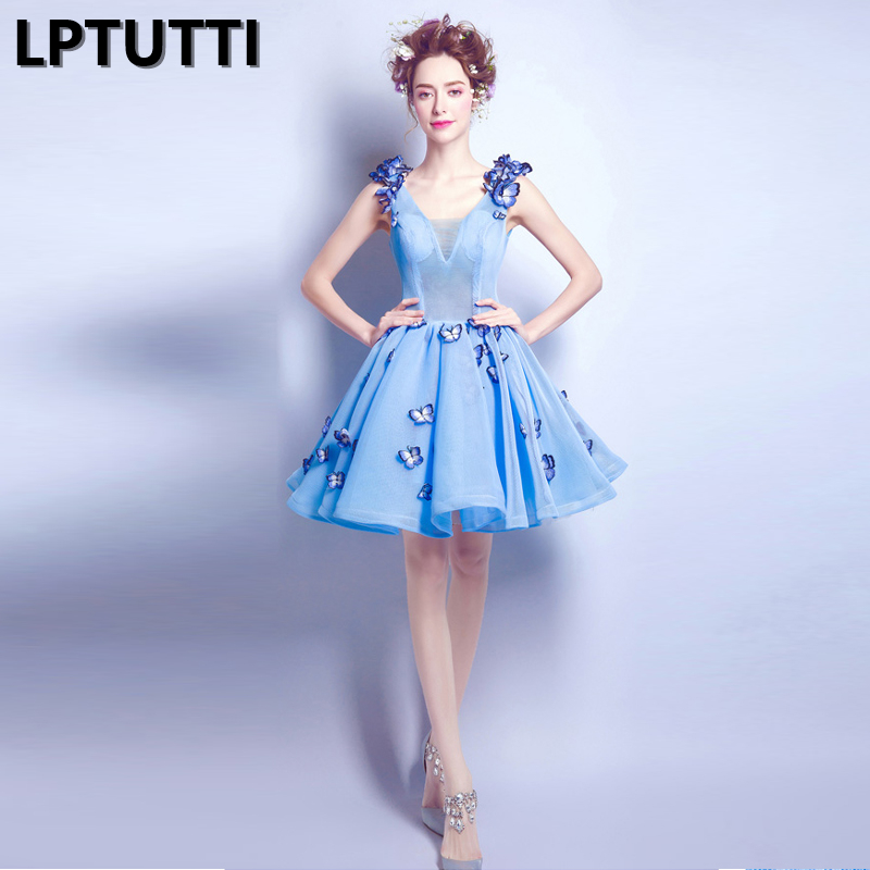 LPTUTTI Appliques butterfly New Sexy Woman Social Festive Elegant Formal Prom Party Gowns Fancy Short Luxury Cocktail Dresses