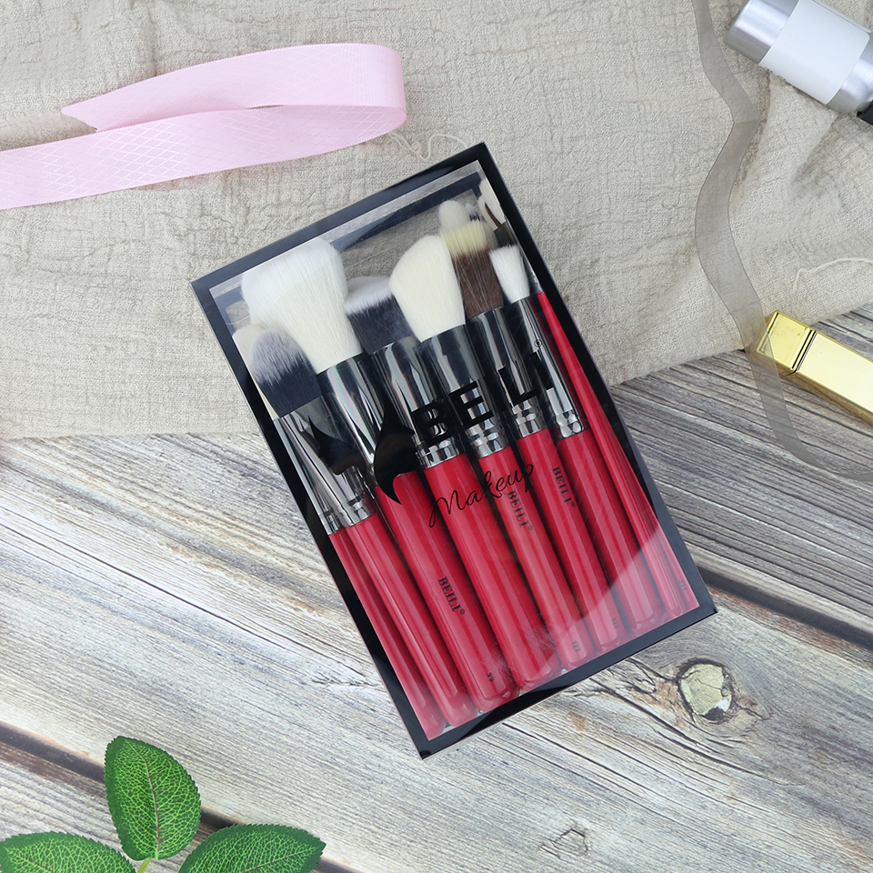BEILI Red 30pcs Professional Makeup Brushes Set Natural Hair Powder Foundation Blusher Eye shadow brow liner Makeup Brush Tool beili 12 pieces black premium goat hair synthetic powder foundation blusher eye shadow concealer makeup brush set cosmetic bag