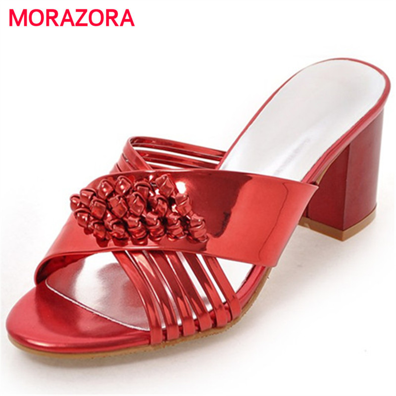 MORAZORA Plus Size 34-45 Square Heels Shoes Woman PU Solid Sexy Lady Sandals Shoes Summer Fashion Open-toed Party Shoes