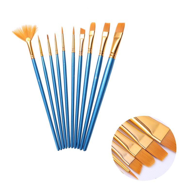10pcs Paint Brushes Art Set For Acrylic/Oil/Watercolor Painting Nylon Wool Blue Bar A3