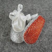 custom bling baby girl shoes crystal sparkle rhinestone lace baptism christening shoe emblished BB30