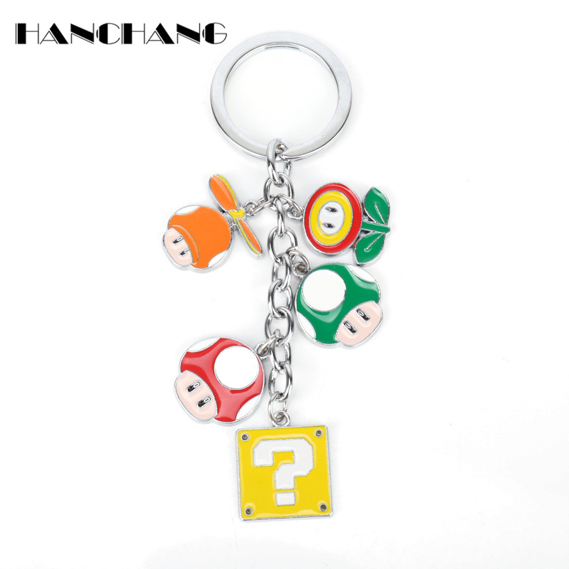 Classic Game Anime Keychain Super Mario Alloy mushroom Flower Pendant Key Chain Car Key  ...