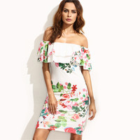 SheIn Elegant Dresses For Women Summer Ladies Multicolor Floral Print Short Sleeve Off The Shoulder Bodycon