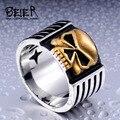 Beier nova loja anel de aço inoxidável 316l skull ring biker personalidade dos homens de moda de alta qualidade jóias br8-112