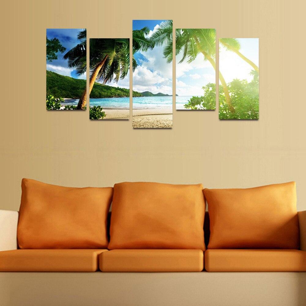 Original Oil Ink Canvas Print Thailand Beach Painting Canvas Wall ...