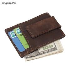 Retro Men Crazy Horse Skin  Money Clips Wallets Credit Card ID Holder Slim Mini Cow Vintage Leather Women US Dollor Clip