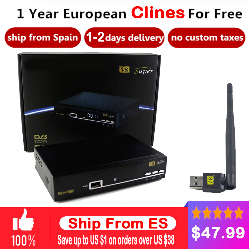 1 Year Europe C- Server HD V8 Super DVB-S2 Satellite Receiver Full 1080P Italy Spain Arabic C- Cline With USB Wifi