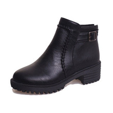 Bare winter shoes high-heeled boots British wind Martin boots waterproof Taiwan thick with short thick bottom female boots