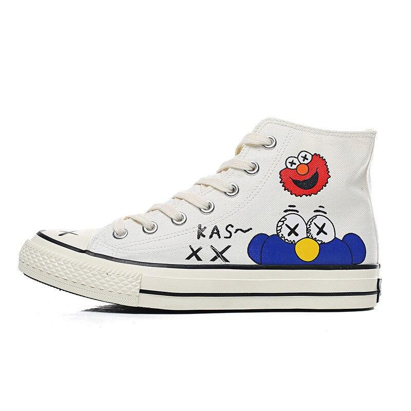 Comic Doodle Sesame Street Tide White Men Canvas Sneakers Girl Women Sneakers High Top Canvas Shoes Basket Femme Women's Shoes