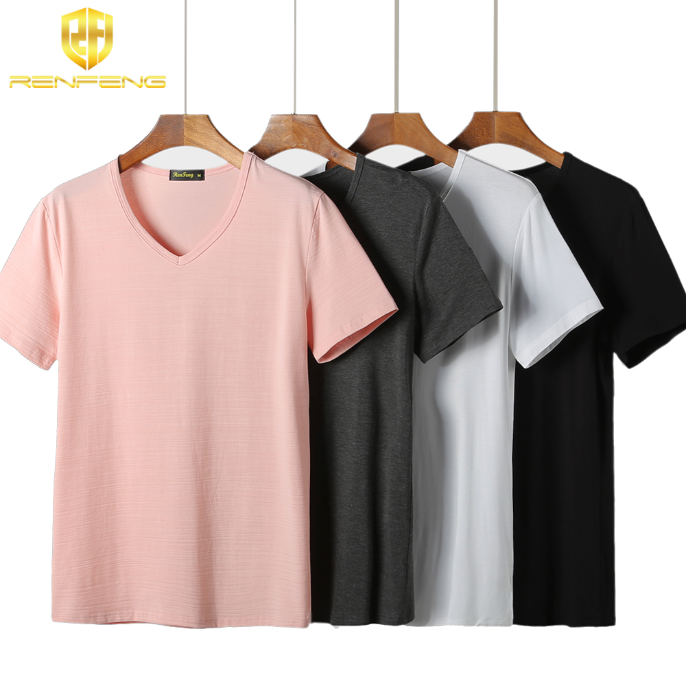 Man\`s Undershirt White Gray Blank Base Shirt Men Short Sleeve Bamboo Fiber Shirts Super Soft V Neck Hombre Sexy Tighten Up Cuff (3)