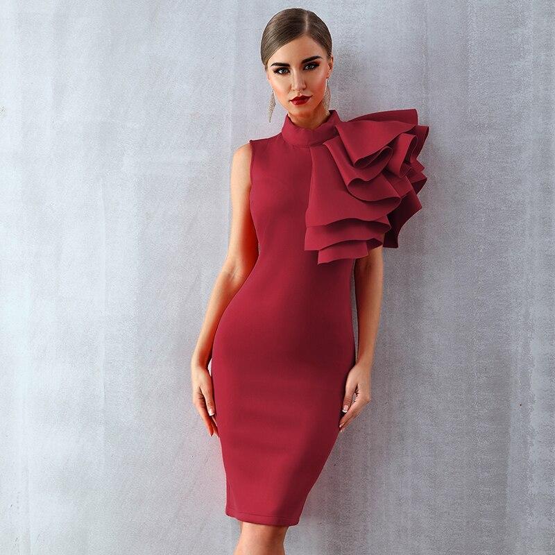 Nouveau chaud cascade à volants dames robes col roulé papillon manches élégant solide Robe d'été Robe moulante mode Clubwear Robe