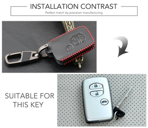 Image 2 - Genuine Leather Car Key Case Cover For Toyota Land Cruiser Prado 150 Camry Prius Crown For Subaru Foreste XV Keychain Holder