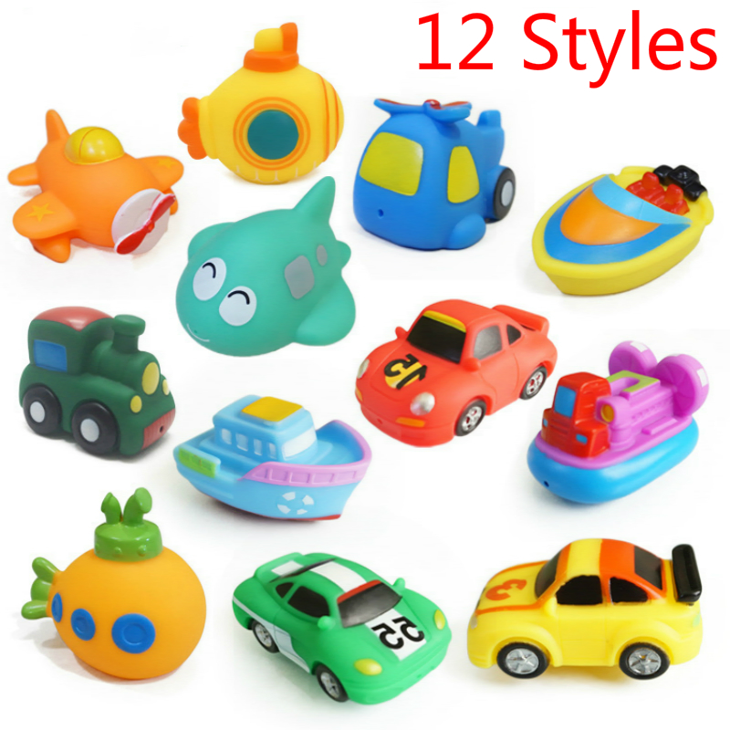 Baby Silicone Bath Toys 12 Styles Soft Rubber Car Boat Airplane  Train Kids Swiming Pool Water Spray Education Toys For Children