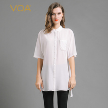 VOA new white half sleeve silk blouse female Europe and the United States casual silk shirt B6697