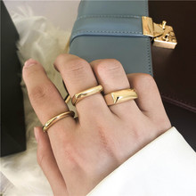 New Trendy Circle Wide Square Knuckle Vintage Cocktail Ring Personality Exaggerated Gold Color Minimalist Geometric Finger