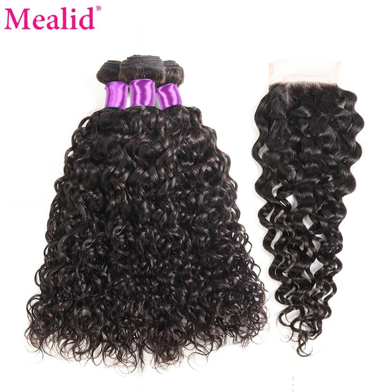 Mealid Brazilian Hair Weave Bundles Water Wave Bundles With Closure 1B Color Remy Human Hair 3 Bundles With Closure Free Part