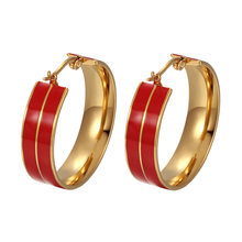 Multi-Color Enamel Stainless Steel Hoop Earrings For Women Trendy Round Gold Earrings Fashion Jewelry Wholesale Width 8MM(China)