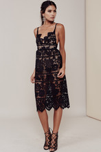 Women Love GIANNA DRESS Black Plunging Neckline Barely-there Seamless Spaghetti Strap Teardrop Lace Midi Dress For Date