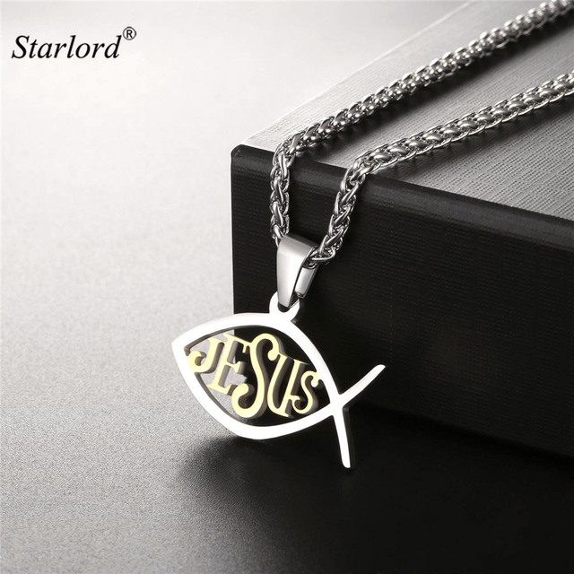 Starlord Christian Fishichthys Pendant Necklace Gold Color