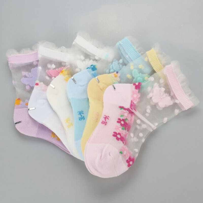 Girls Socks for Children Kids Mesh Style Baby Socks with Trendy Elastic Lace Flowers Summer New Arrival Wholesale 6 Pairs/Lot