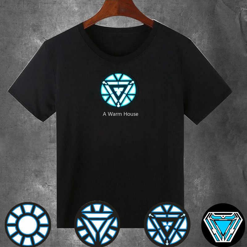 LED เสื้อผ้า Iron Man เรืองแสงเสื้อผ้า Marvel ภาพยนตร์ Neon Tees ผู้ชายการควบคุมเสียง Luminous Cotillon สำหรับ Party Glow ชุดสตรี