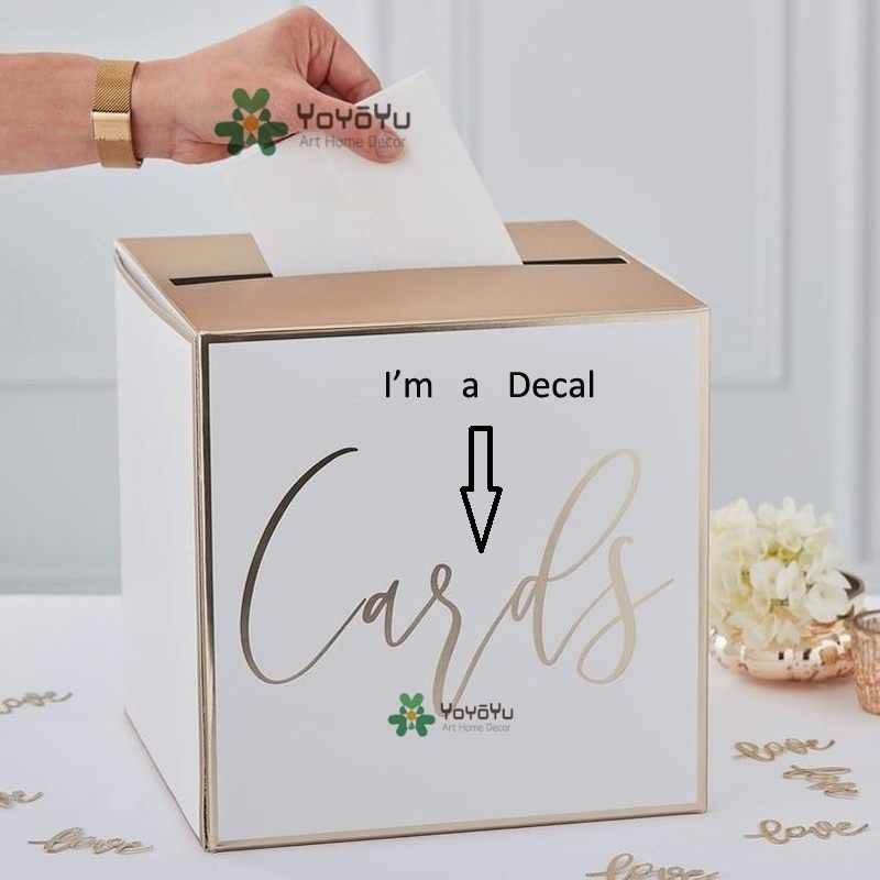Card Box Wedding.Wedding Card Holder Wall Stickers Post Box Wall Decal Wedding Decorations Wedding Card Box Decor Logo Mural Guest Cards Zw408