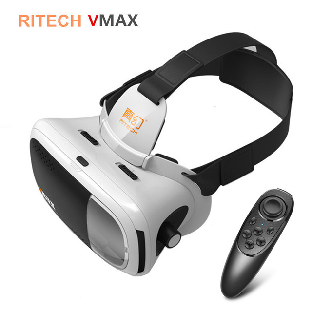 RITECH VMAX 3D VR Headset Virtual Reality Glasses BOX Pro Head Mount Cardboard for 4.7-6' Mobile Phone +Mocute Remote Controller