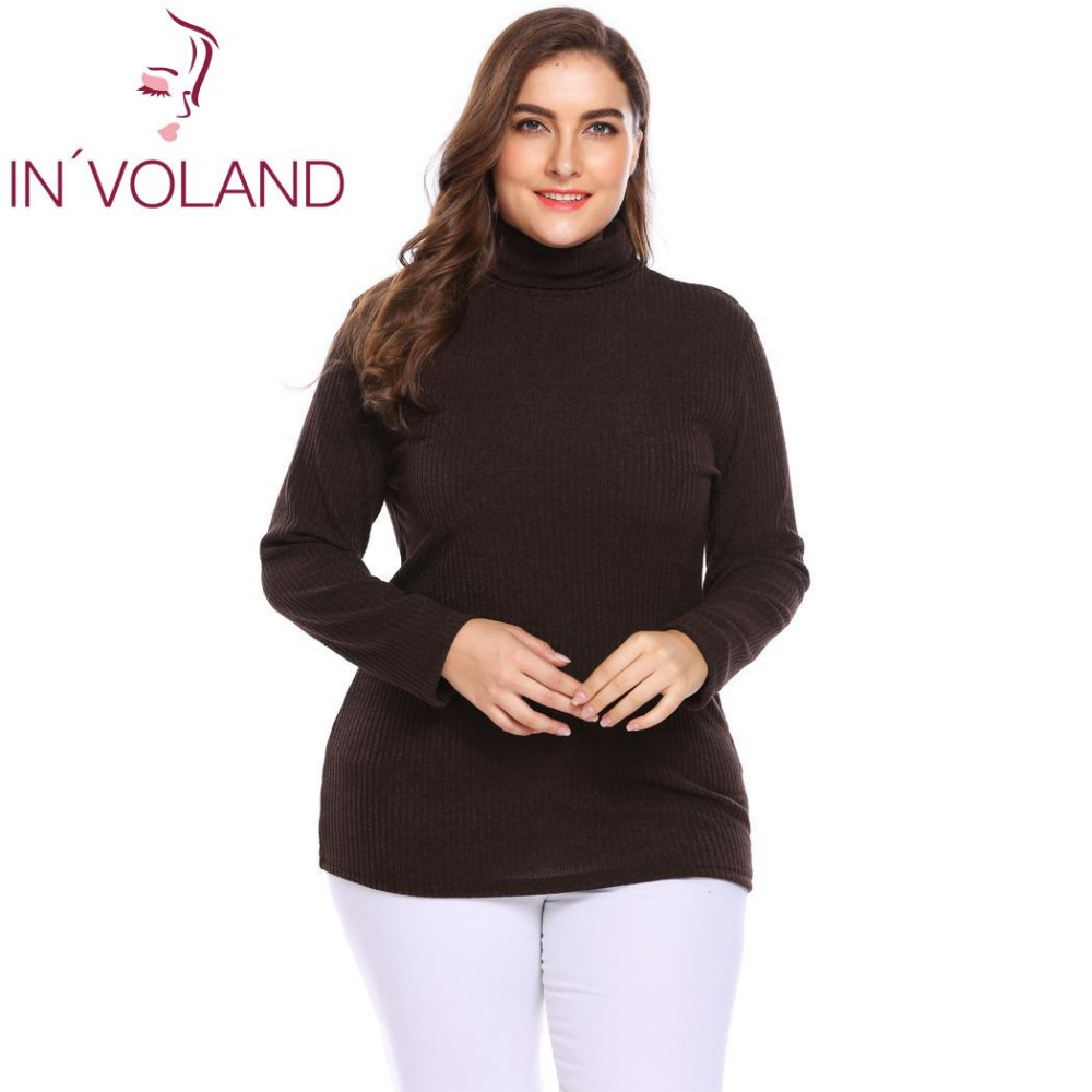 b6878406bc IN VOLAND Plus Size Women Pullover Sweaters Autumn Winter Basic Classic  Warm Mock Turtleneck Solid Loose Large Tops Big Size