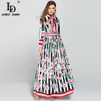 High Quality 2017 Fashion Designer Runway Maxi Dress Long Sleeve Women S Bow Collar Stripe Floral