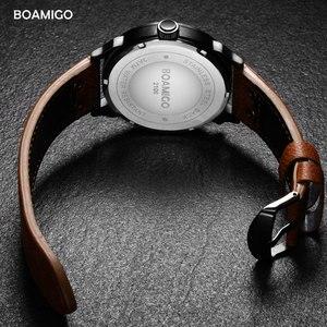 Image 3 - นาฬิกาแฟชั่นผู้ชายกีฬานาฬิกาควอตซ์BOAMIGO BrandแบบDualเวลาวันที่นาฬิกาข้อมือสายหนังกันน้ำRelogio Masculino