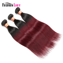 Fashion Lady Pre-Colored 1b/99j Ombre Malaysian Straight Hair 3 Bundles 100% Non-Remy Human Hair Bundles 100% Hair Weaving