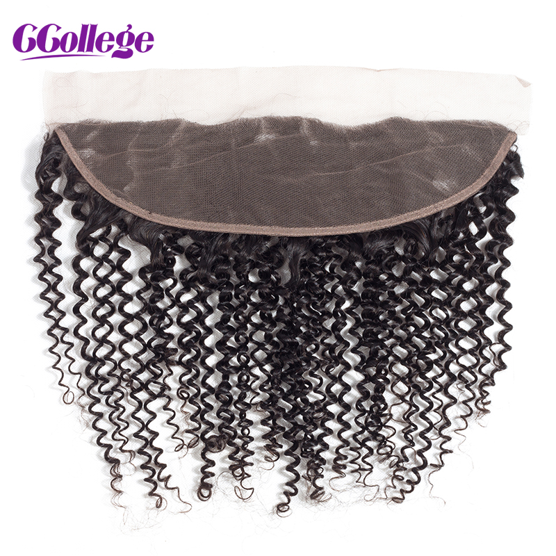 CCollege Brazilian Kinky Curly Hair Lace Frontal Closure 13*4 Ear to Ear Human Hair With Baby Hair Bleached Knots Natural Color