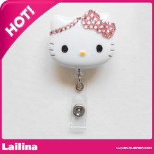 Princesse Blinged Rose Arc Kitty Strass Badge Bobine/Nom Badges/ID Porte-Badge(China)