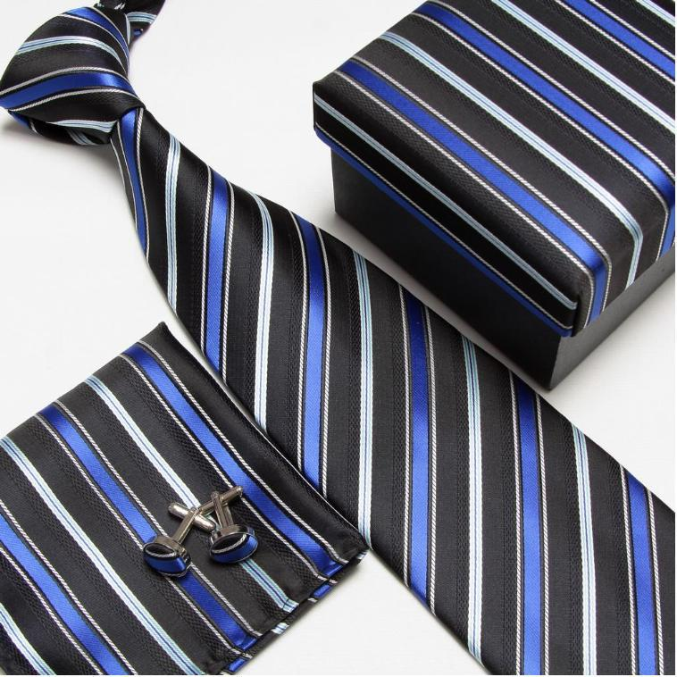 Мужская мода высокого качества полосатый набор галстуков галстуки Запонки hankies шелковые галстуки Запонки карманные носовые платки - Цвет: 5