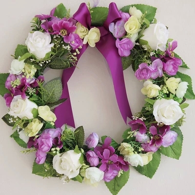 Purple rose artificial flowers wreath garland door decoration purple rose artificial flowers wreath garland door decoration wedding flower home decor wedding car decoration flower junglespirit Image collections