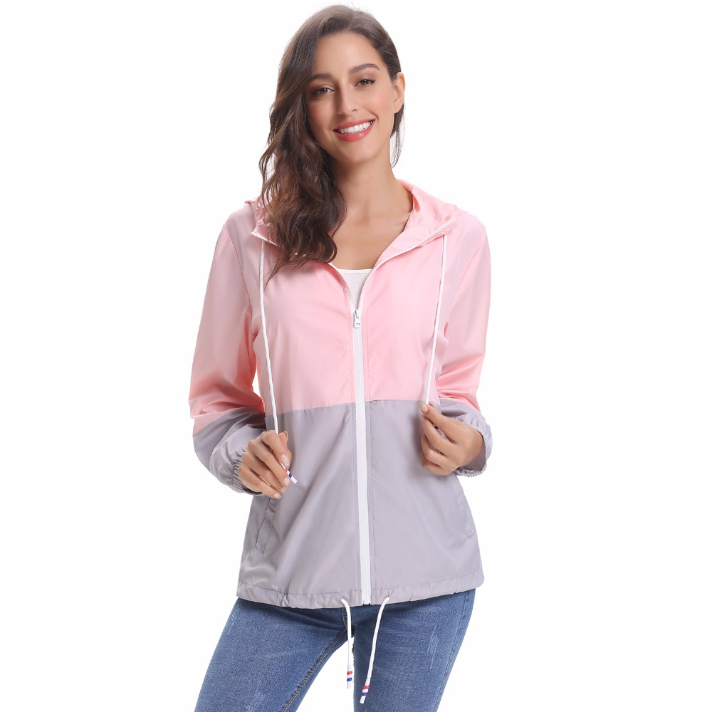 Rain Jacket, Waterproof Contrast Color Long Sleeve Raincoat Windbreaker Quick Dry Sports Outdoor Hoodie for Women Ladies Girls цена 2017