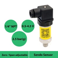 pressure sensor 0.5 to 4.5v  5VDC power  pressure 0 to 2.5bar  0 to 250kpa  0 to 0.25mpa  china pressure transmitter  1/4npt ext|Pressure Transmitters|Tools -