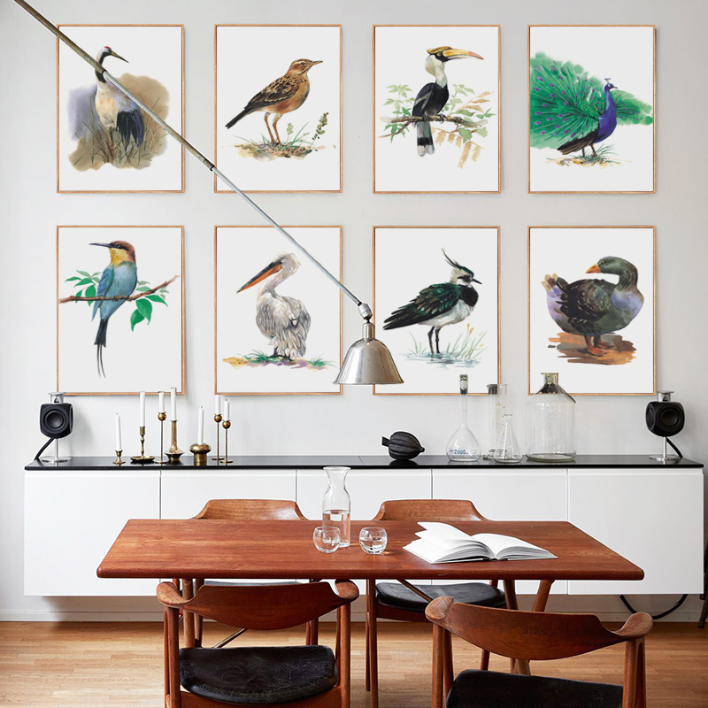 Elegant Poetry Beautiful Modern Minimalist Bird Watercolor Canvas Painting Art Print Poster Picture Mural Home Decoration