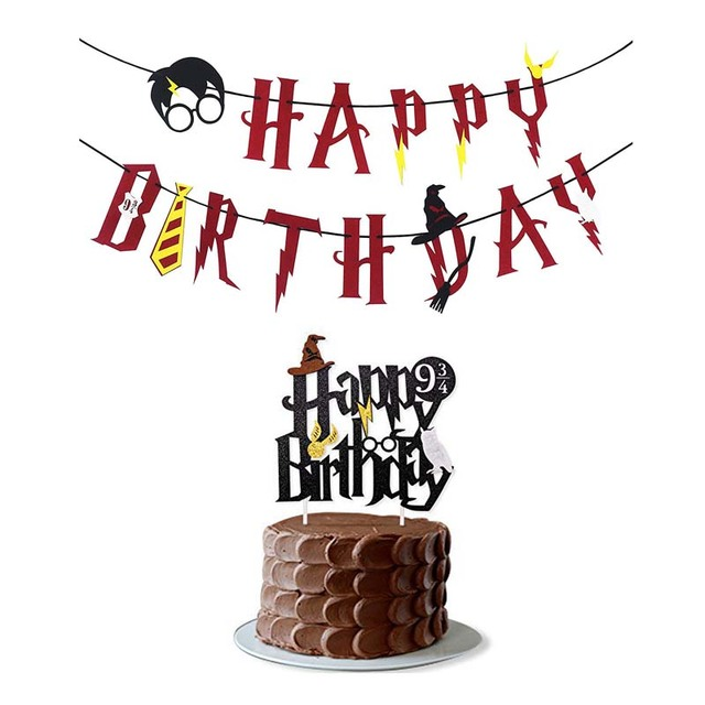 Omilut Harry Potter Birthday Party Cake Toppers Banner Baby Shower Boy Decor Childrens Supplies