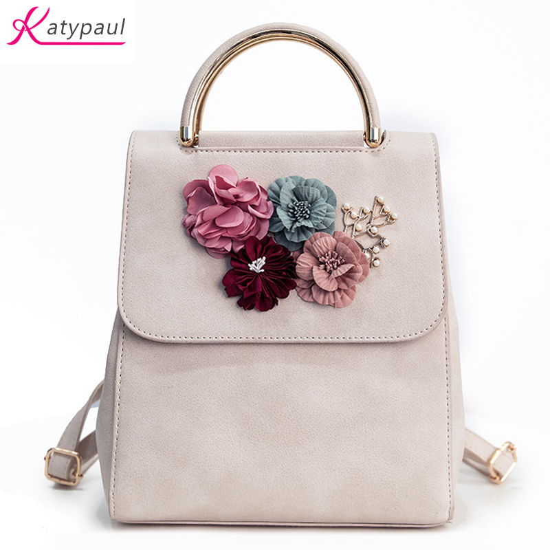 Women Backpack New Fashion Casual PU Leather Ladies Feminine Backpack For Teenage Girls School Bag White Pink Flower Backpack