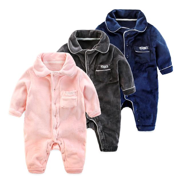 Bebê roupas infantis inverno sleepwear velo coral newborn romper