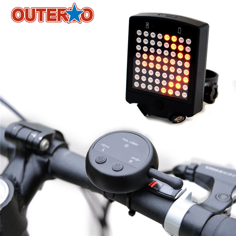 Outerdo 64 LED Wireless Remote Laser Bicycle Rear Tail Light Bike Turn Signals Safety Warning Light Bicycle Accessories meilan x5 wireless bike bicycle rear light laser tail lamp smart usb rechargeable cycling accessories remote turn led