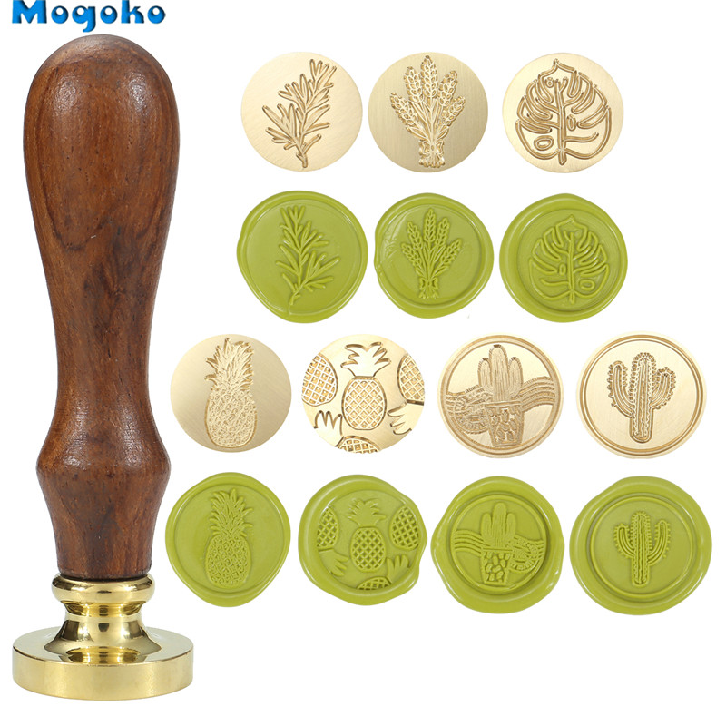Mogoko Wax Seal Stamp Retro Wood Classic Sealing Wax Seal Stamps Decorative Antique Stamp Rosemary/Lavender/Monstera Leaf/Cactus